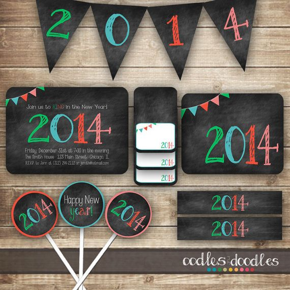 New Years Chalkboard themed Party Kit / 2014 Party Package / New Year's, New Year's Eve Party - Printable