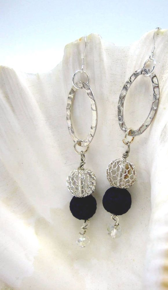 Long Blue Lava Rock Stone Silver Handmade Drop Earrings Essential Oils Diffuser Unbranded Dropdangle