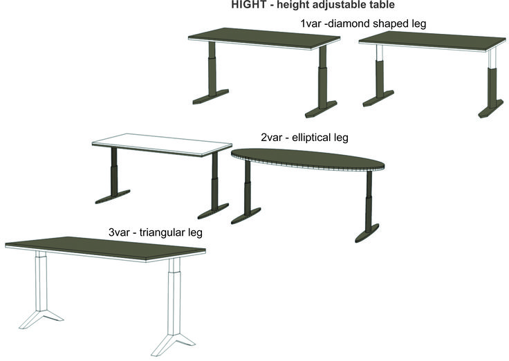 Prototypes for height adjustable tables, unique workplace suited for everyone and everywhere.