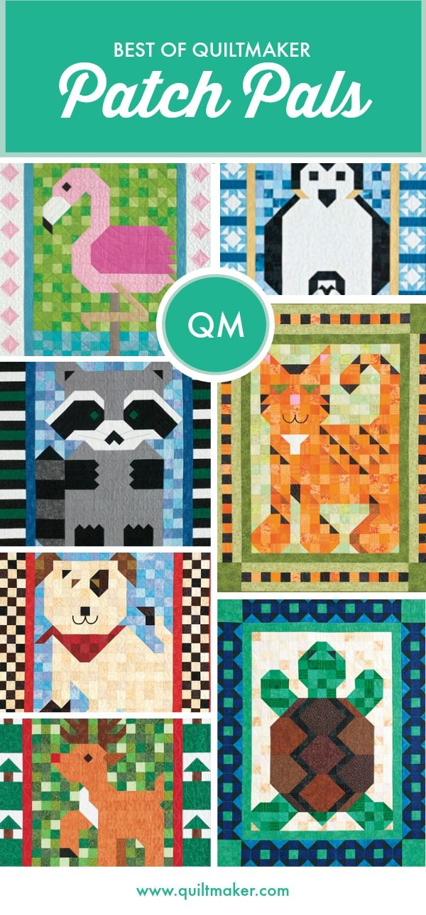 Easy-to-piece Patch Pals are adorable animal quilts made mostly of squares and half-square triangles, with an occasional quarter-square triangle. Plus, you can swap borders to customize. These make perfect #BabyQuilts and #BabyShower gifts! #AnimalQuilts