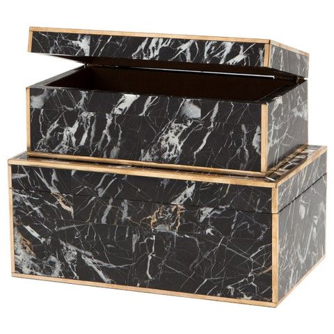 """A set of black nero marble boxes with luxurious brass detailing. Set of 2. - Small Dimensions: 9""""L x 5""""W x 4""""H - Large Dimensions: 10.5""""L x 6.5""""W x 5""""H - Materials: Marble; Brass - Set of 2 Unfortunat"""
