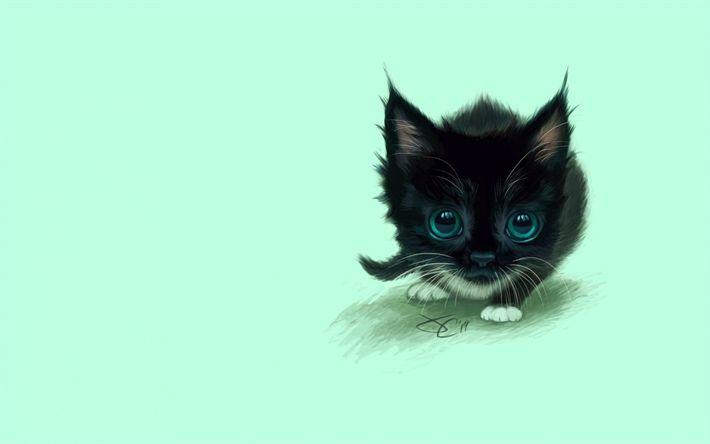 Download wallpapers black cat, kitten, minimal, cute animals, cats