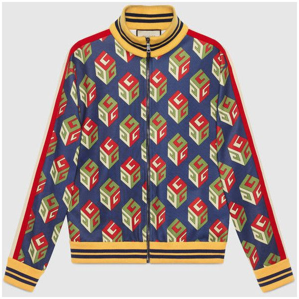 Gucci Gg Wallpaper Technical Jersey Jacket ($1,750) ❤ liked on Polyvore featuring men's fashion, men's clothing, gucci mens clothing, vintage men's fashion and vintage mens clothing