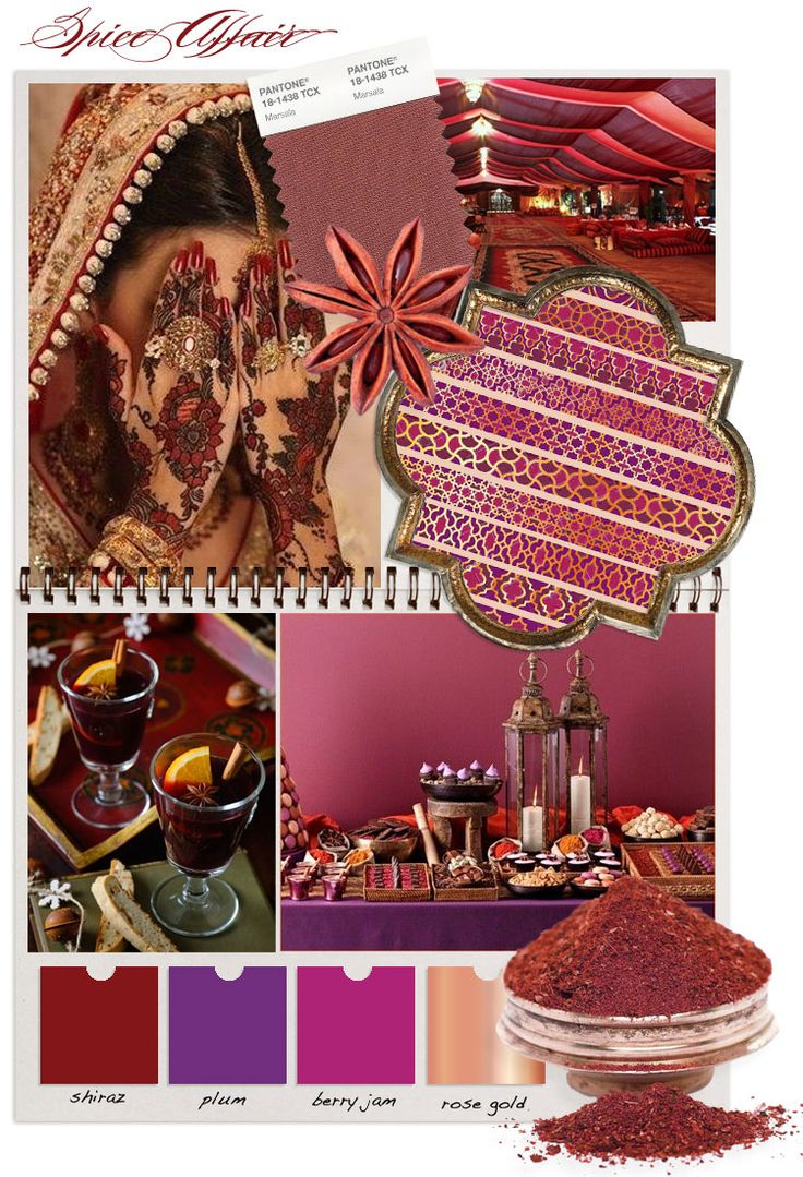 In response to Pantones choice of marsala as their colour of the year for 2015, we've created - Spice Affair. Inspired by the richness of mulled wine, exotic spices and far off lands. #wedding #marsala #red #pink #purple #gold #rosegold #moodboard #weddingideas #weddinginspiration #indian #moroccan #spice #exotic
