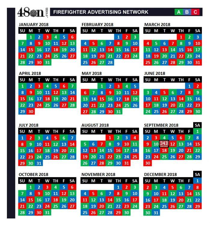 2018 Firefighter Shift Calendar 48on 48on Calendar Template Calendar Printables Print Calendar