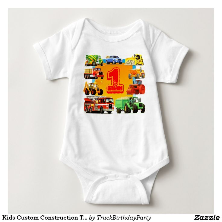 Kids Custom Construction Truck 1st Birthday Tee Shirts