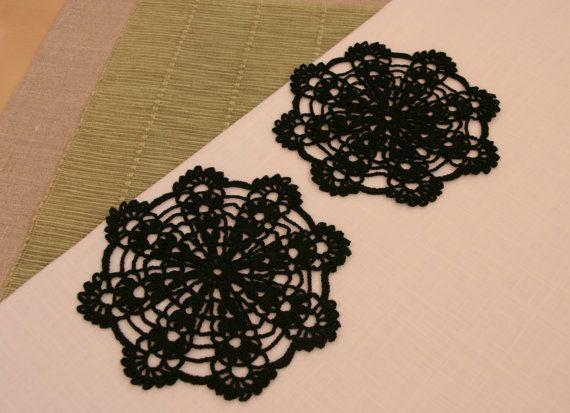 Black crochet doilies black crochet coasters  set of 2