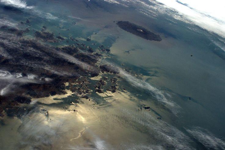 https://flic.kr/p/tENDJE | Jeju with dormant volcano Hallasan | A view from #SouthKorea to the island of Jeju with the dormant volcano Hallasan. A #WorldHeritage site!   Credit: ESA/NASA  [123J5964]