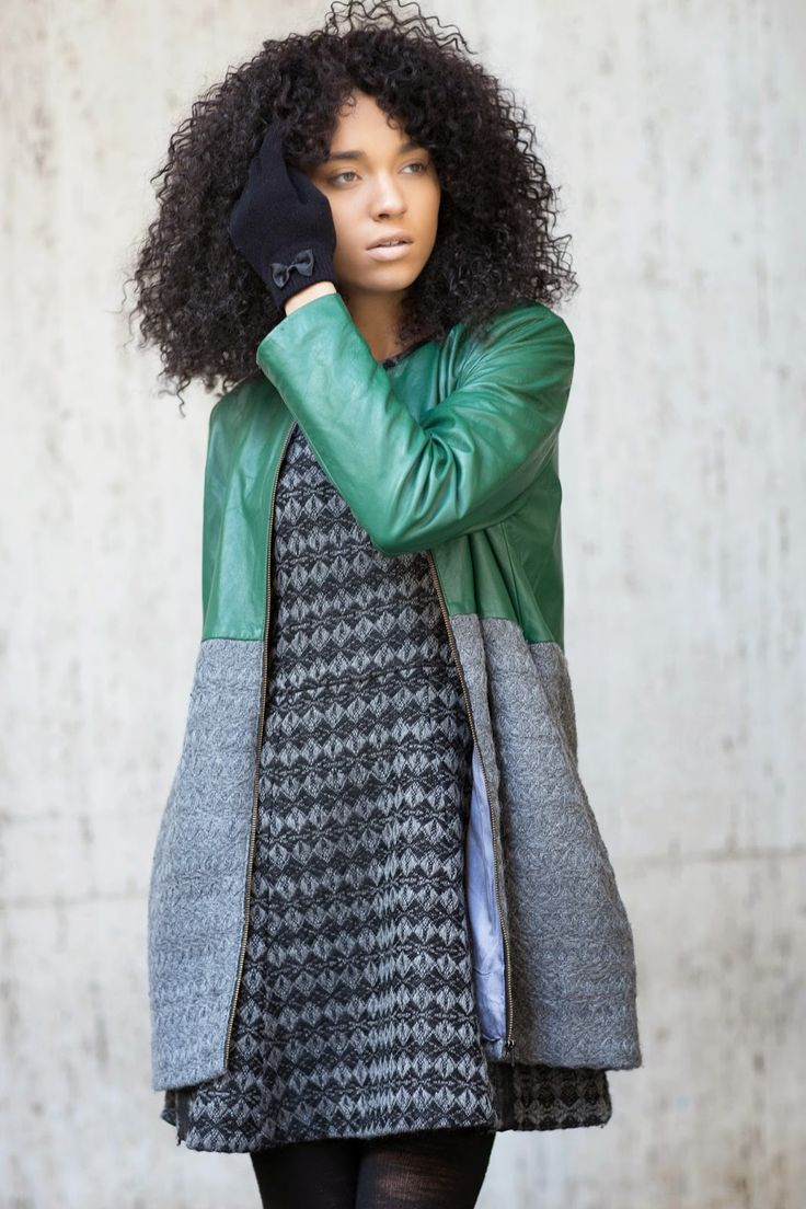 Shop this look on Lookastic:  http://lookastic.com/women/looks/black-wool-gloves-grey-argyle-skater-dress-grey-coat/6670  — Black Wool Gloves  — Grey Argyle Skater Dress  — Grey Coat