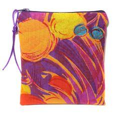 Pochette à maquillage, trousse en tissu fourre tout, trousse orange violette