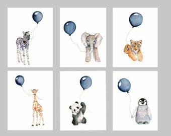 Minze-Kinderzimmer-Drucke Tier print Set Satz von Marysflowergarden