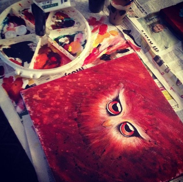 red acrylic owl painting