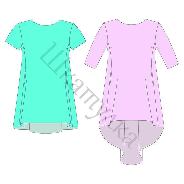 Выкройка платья с перепадом длины