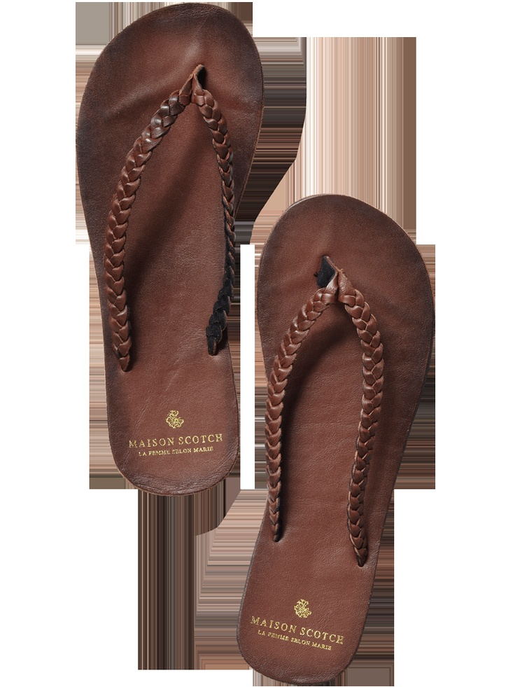 Maison Scotch - Summer leather flip flops  I would wear these every day if I could!