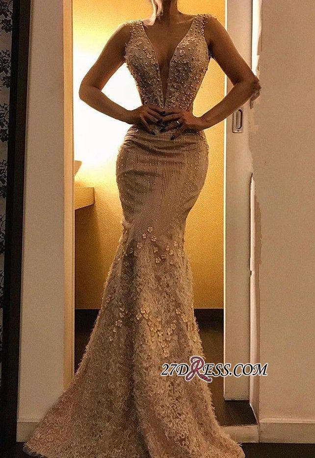 4bd34758338 Luxurious Deep V-Neck Mermaid Sleeveless Evening Dress 2019 Floor-Length  Lace Appliques Prom Gown Item Code  IN0131  Ad  Evening