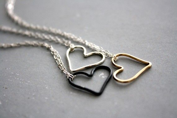 SILVER Open Heart necklace Bright Sterling Silver by envejewelry