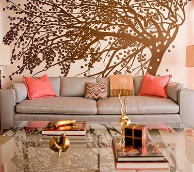 love the big wall decal.... or is it a painting?Wall Art, Colors Combos, Wallart, Wall Decals, Interiors Design, Painting Trees, Living Room, Colors Schemes, Trees Murals