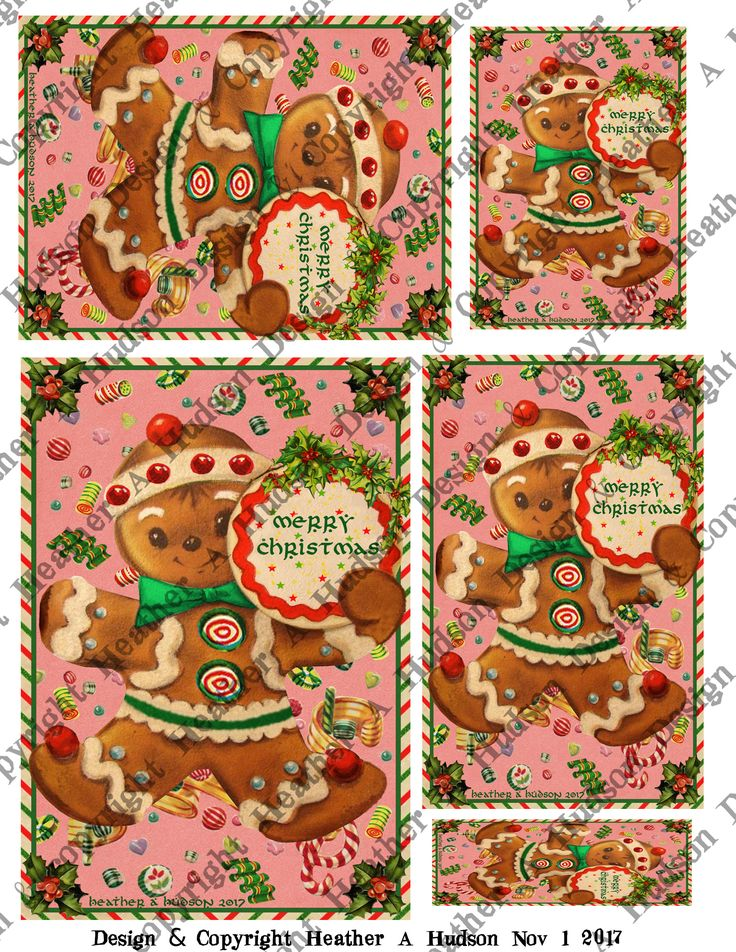 Vintage Retro Gingerbread men man cookie candy cane pink background focal ATC Microscope Slide A2 size 5 by 7 size Card fronts