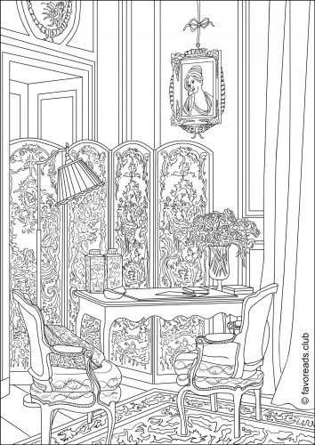 A Lavish Boudoir FREE Coloring Page From FavoReads