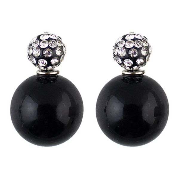 Double Ended Faux Pearl Rhinestone Earrings ($5) ❤ liked on Polyvore featuring jewelry, earrings, black, fake pearl earrings, rhinestone jewelry, round earrings, earrings jewelry and oversized earrings
