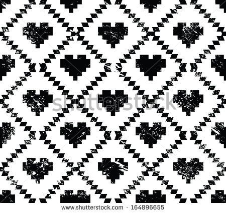 Seamless Aztec tribal pattern with hearts - grunge, retro style - stock vector