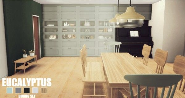 Onyx sims eucalyptus diningroom sims 4 downloads for Dining room ideas sims 4