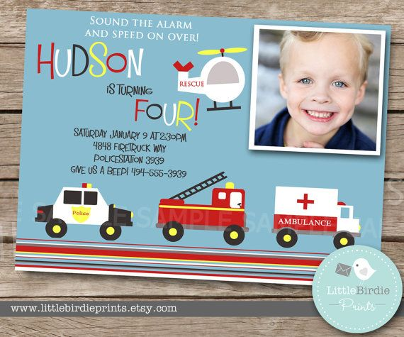 FIRETRUCK INVITATION PRINTABLE - Rescue Vehicles - Birthday party - Police, Firetruck, Ambulance and Helicopter - Printable Invitation