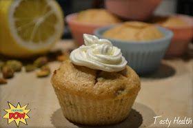 Citron- och pistageproteinmuffins med citronfrosting