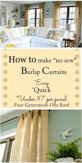 How To Make Easy 'No Sew' Burlap Curtains