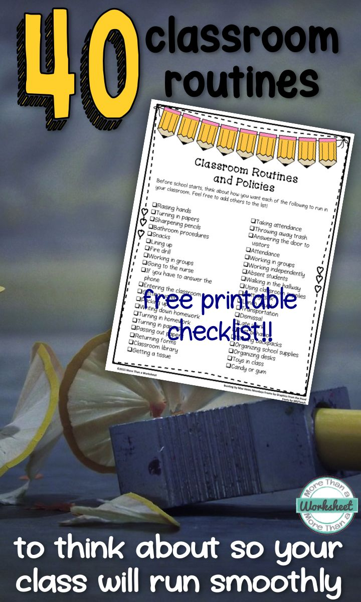 Class Routines--a list of 40 things to consider with a free printable checklist from More Than a Worksheet