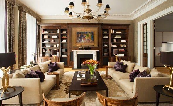 Дизайн гостиной с зеркальной симметрией