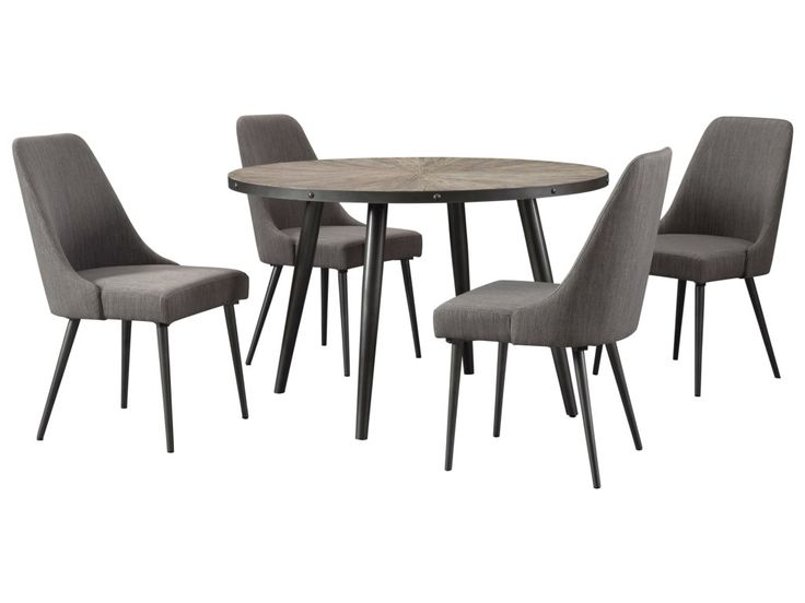 Signature Design by Ashley Coverty 5 Piece Round Table and Upholstered Chair Set | Royal Furniture | Dining 5 Piece Sets