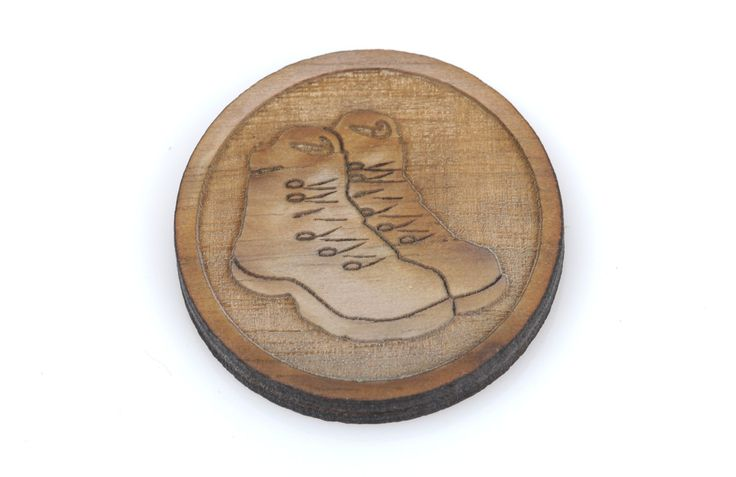 6 HIKING BOOTS Wood Cabochons, Scout Wood Charms, Laser Cut Supplies, Laser Engraved Wood, Sustainable Wood Supplies, lcw0069 by SmartParts on Etsy