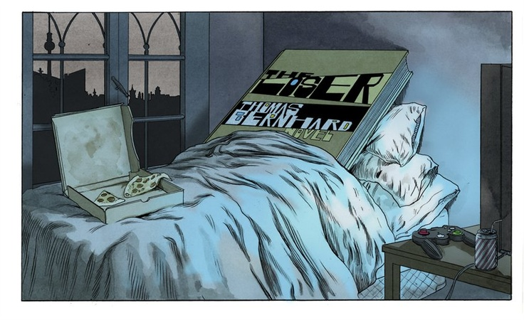 Thomas Bernhard's The Loser; in my bed illustration by Joe McKendry