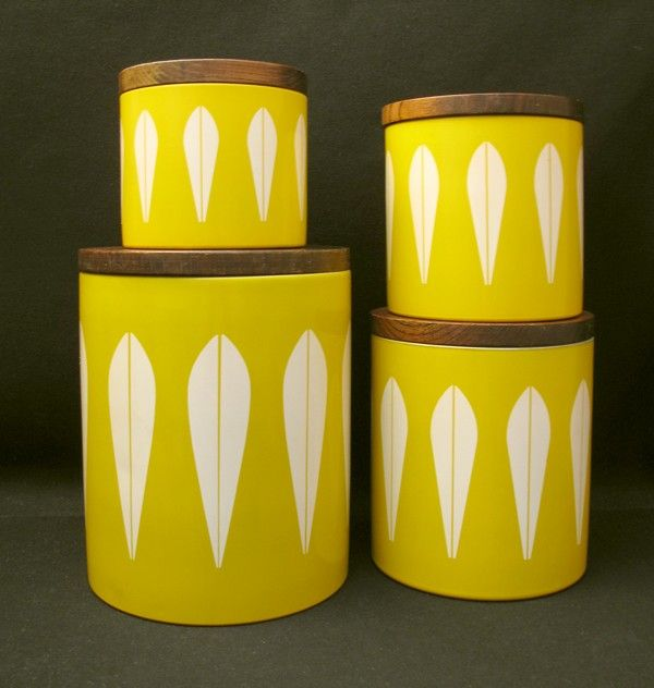 4x RARE VINTAGE CATHERINEHOLM NORWAY LOTUS KITCHEN CANISTERS CATHERINE HOLM