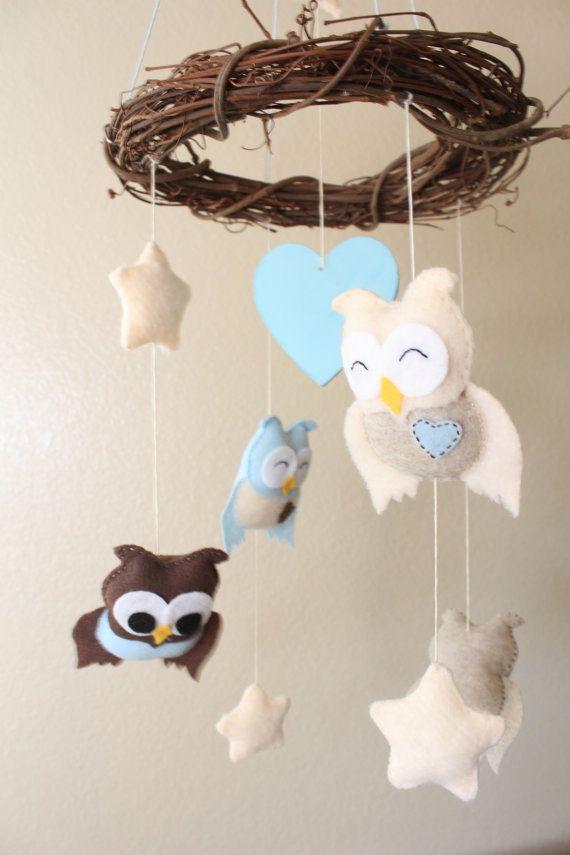 Baby mobile - Owl mobile - nursery hanging decor: Owl, moon and stars mobile (customizable) $50