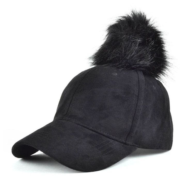 mink fur baseball cap lined ball pom