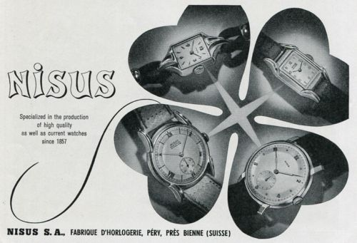 Vintage-1948-Nisus-SA-Watch-Co-Switzerland-Original-1940s-Swiss-Print-Ad-Suisse