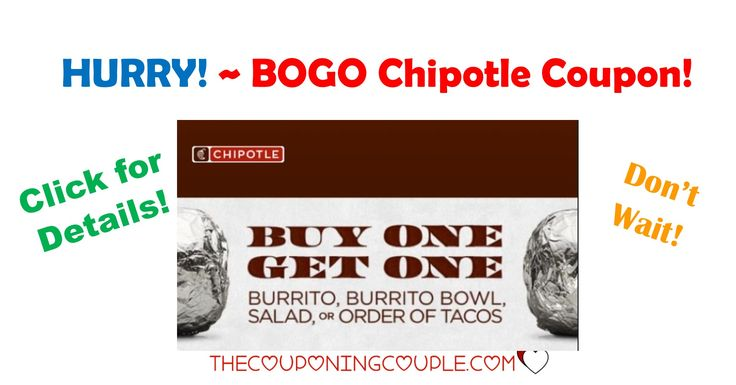 HURRY! Get the BOGO Chipotle Coupon while you can! These are very rare and don't happen very often! Great opportunity for a date!  Click the link below to get all of the details ► http://www.thecouponingcouple.com/bogo-chipotle-coupon/ #Coupons #Couponing #CouponCommunity  Visit us at http://www.thecouponingcouple.com for more great posts!