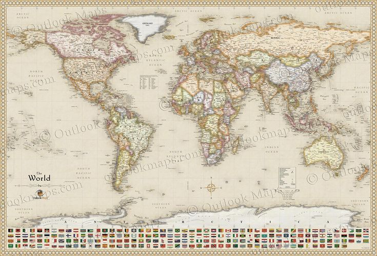 232 best carte du monde images on pinterest cards worldmap and antique style world map with flags gumiabroncs Images