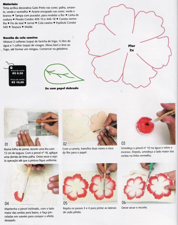 Flores em E.V.A. / PET / Meias de Seda: Hibisco de Jornal - Apostila das Flores