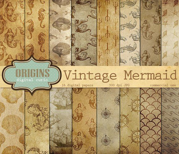 Vintage Mermaid Nautical Backgrounds by Origins Digital Curio on @creativemarket