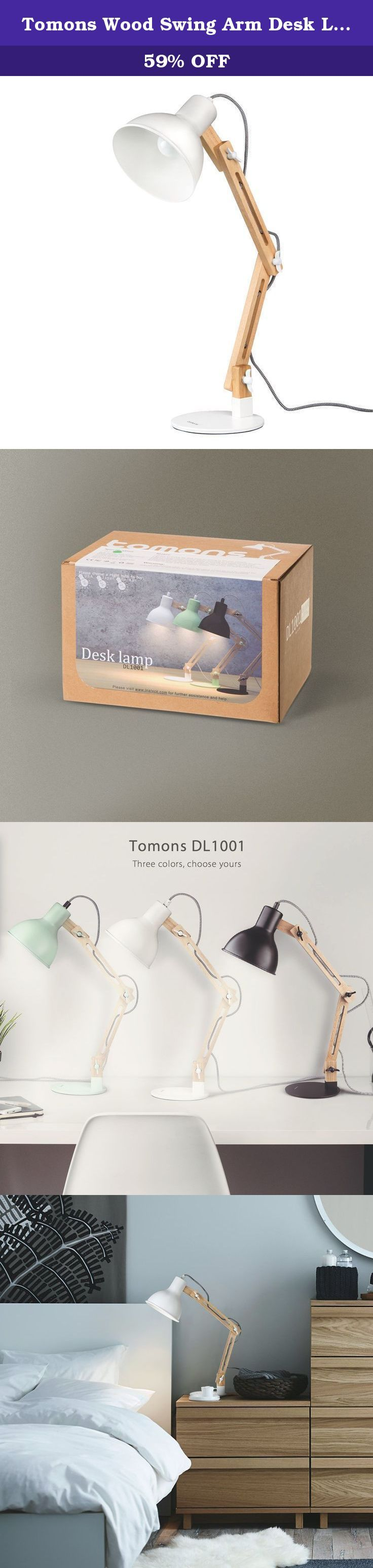 "Tomons Wood Swing Arm Desk Lamp, Designer Table Lamp, Reading Lights, Study Lamp, Work Lamp, Office Lamp, Bedside Nightstand Lamp - White. Versatile applications May it be as a light source for your desk or as reading lamp on your nightstand - the Tomons desk lamp does not simply provide illumination, but features a modern and timeless design as well. The lamp improves your home environment, while being a functional desk lamp for your office environment at the same time. ""Scandinavian""..."