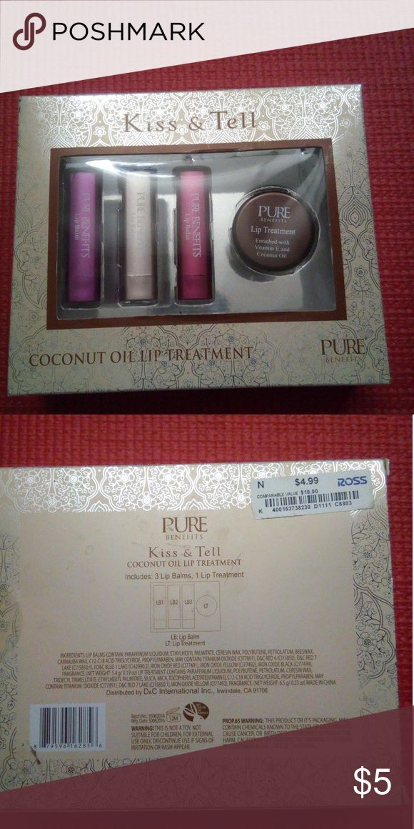 NWT Lip balm & treatment set NWT set contains a lip treatment  and 3 sheer lip balms , pink, nude, and berry colors. Makeup Lip Balm & Gloss