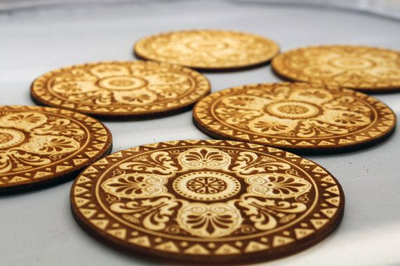 Engraved wooden coasters set  of 6