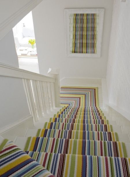 Bright Striped Stair Carpet Runner