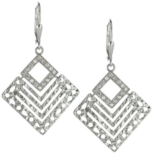 Silver  CZ Laser Cut Square Earrings only $31 - purejewels.com.au