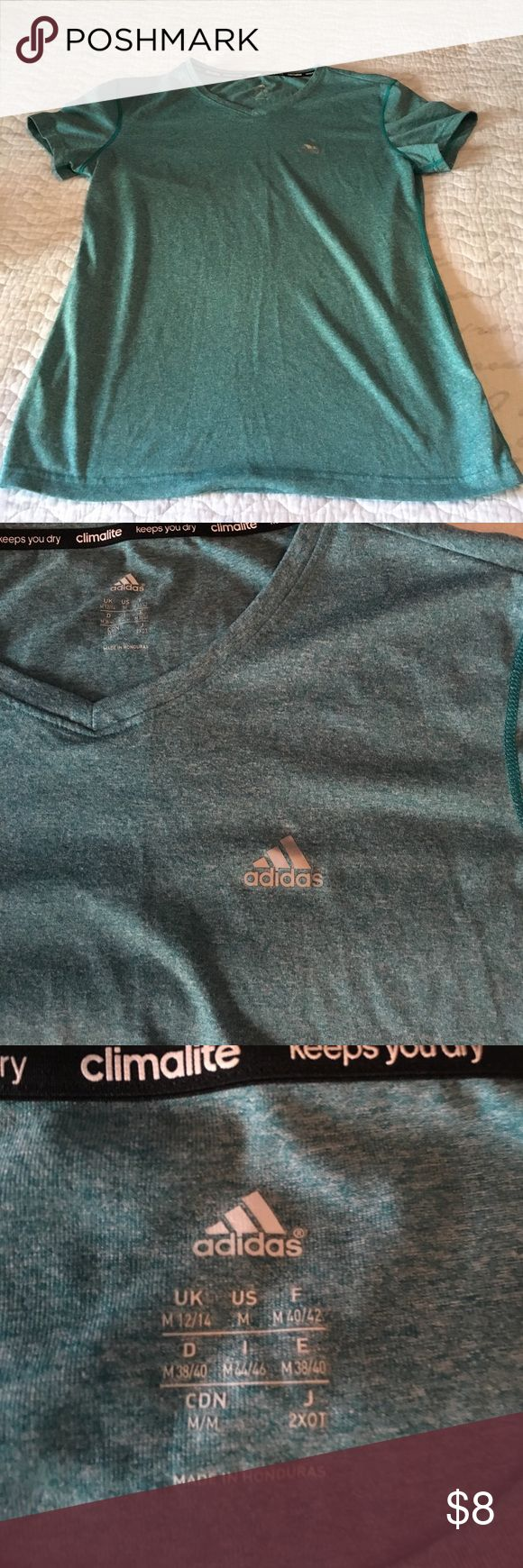 Adidas work out top Teal short sleeve Adidas workout shirt! Only worn once! Tops Tees - Long Sleeve