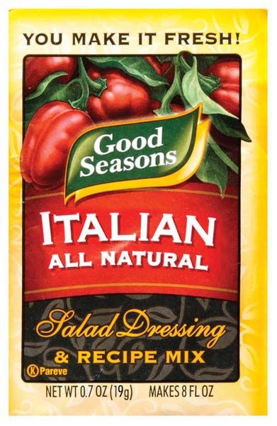 good seasons italian dressing mix, a copycat recipe. I will try this but with less sugar and a lot less salt.