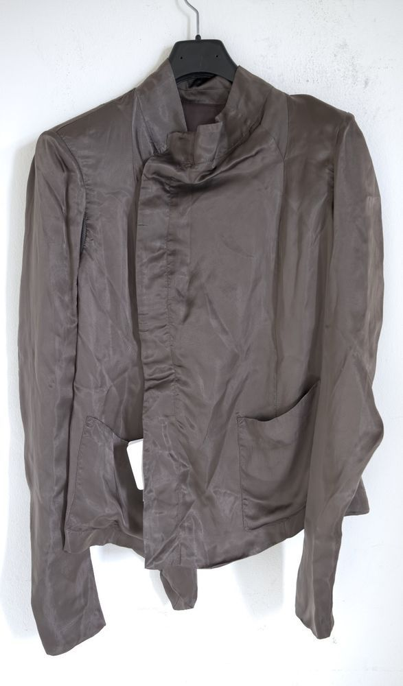 BNWT RICK OWENS GREY 'EILEEN' SATIN JACKET sz 42IT,1200$ #RICKOWENS #CUPROJACKET